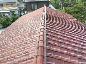 瓦屋根の現状調査実施