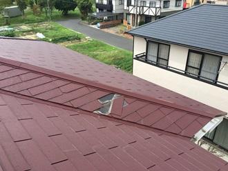 スレート屋根の飛散確認