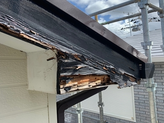 市原市辰巳台で腐食して塗装できない破風板を交換工事