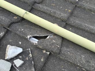 セメント瓦の割れ確認