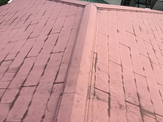 市原市国分寺台にて棟板金の飛散調査、スレート屋根も割れていました