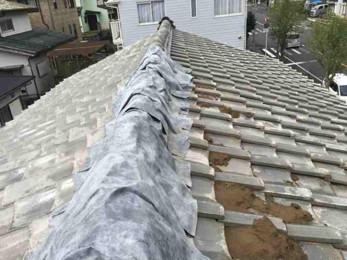大屋根の棟瓦にも養生