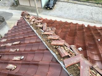 棟瓦の被害、調査実施