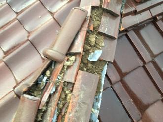 棟瓦の被害調査、棟取り直し工事