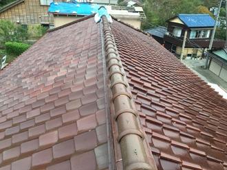 瓦屋根の調査実施