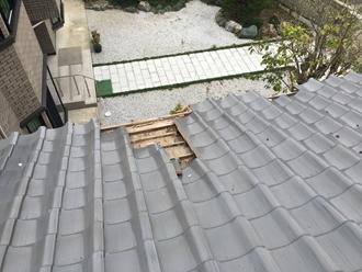 軒先瓦の被害、台風被害
