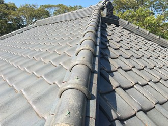 瓦屋根の台風被害調査