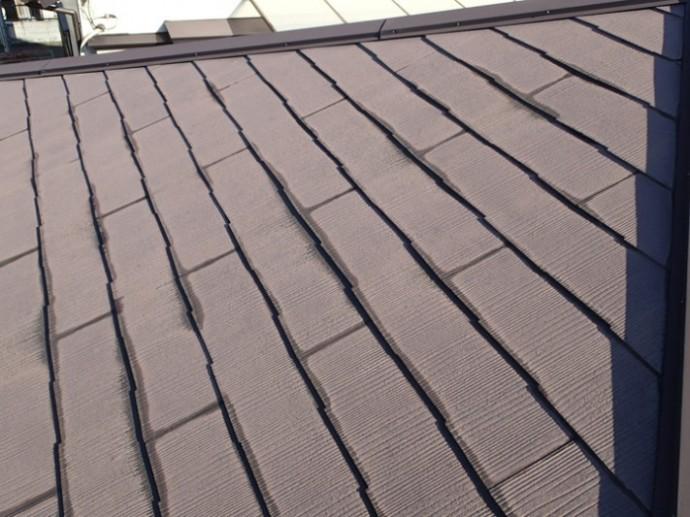 端部が変色しているスレート屋根