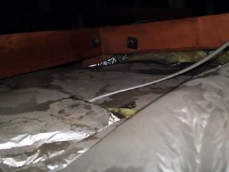 雨水が浸入していた小屋裏