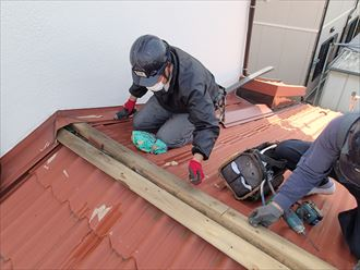 市原市 旧貫板の撤去