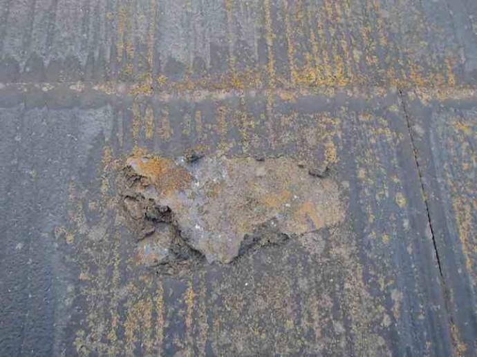 スレート屋根の調査、塗膜の剝離