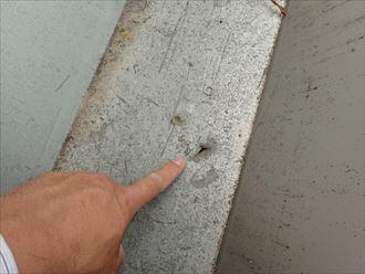 市原市 屋根材に穴