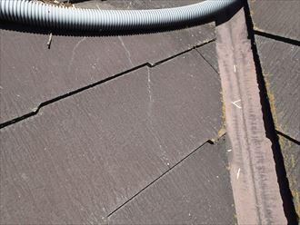 袖ケ浦市 屋根材に発生したひび割れ