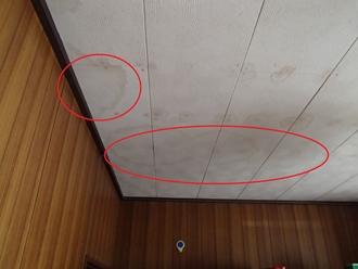 室内からの雨漏り、箇所点検