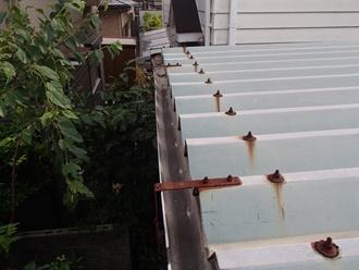 折半屋根のボルト廻りサビ