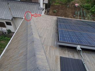 棟瓦のズレ、落下の危険