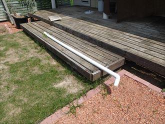 君津市の雨樋調査固定針金の外れ継手の接着不良