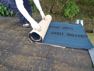 カバー工事、防水紙はりつけ