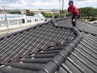 木更津市のS型瓦漆喰の剥がれと瓦ズレ棟取り直し工事で改善