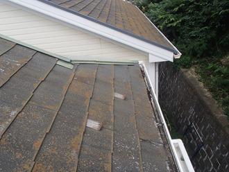 スレート屋根の現地調査、パミール材でした
