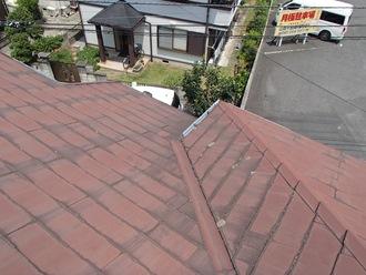 スレート屋根の調査実施、苔カビ