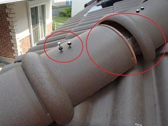 下屋根の丸棟のズレ確認