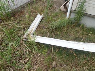 君津市の自然災害による雨樋破損
