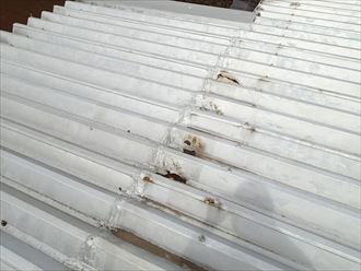 君津市 雨漏り箇所上部の折板屋根