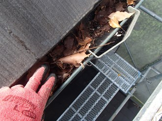 雨樋の詰まり、落ち葉が堆積