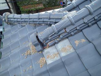 木更津市の瓦屋根棟瓦の崩れ棟取り直し工事で改善