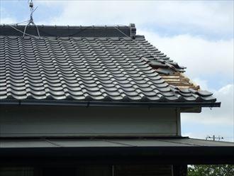 大網白里市|飛散した瓦の葺き直し工事で雨漏りを解消!