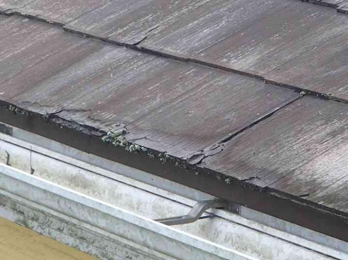 軒先屋根に苔と剥がれ
