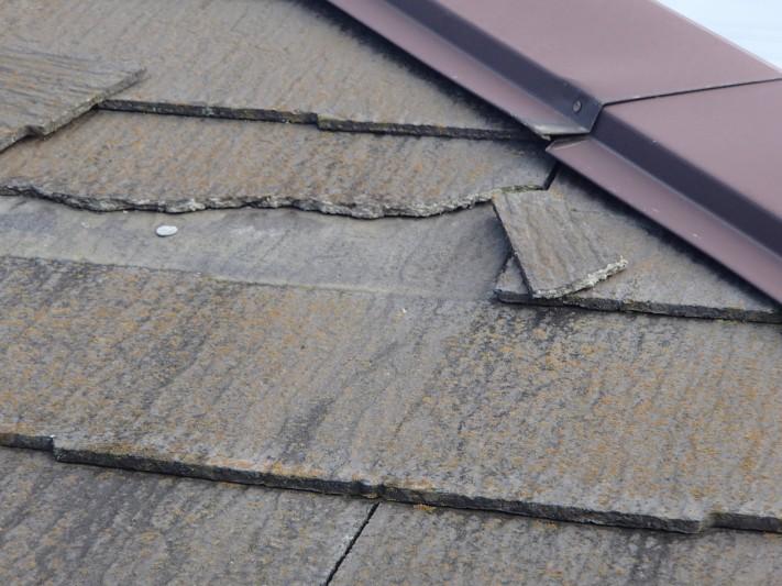 スレート屋根の割れ、飛散の可能性