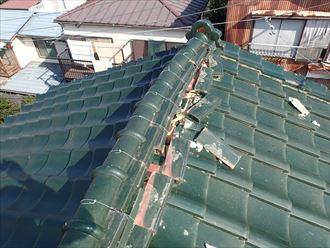君津市 棟瓦の崩れ