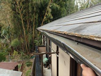 雨樋の排水不良、原因は枯葉の詰まり|君津市