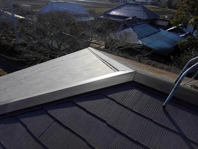 茂原市粟生野で強風で飛散して変形した棟板金交換、樹脂製貫板でより強くアフター