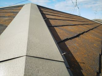 市原市南国分寺で行った屋根調査で棟板金を固定している釘の浮きは飛散に繋がります