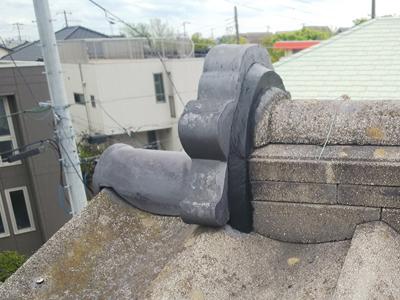 千葉市美浜区磯辺で鬼瓦の落下を防ぐ為に棟取り直し工事アフター