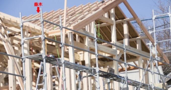 建設中の家の垂木