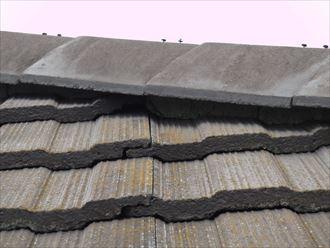 袖ヶ浦市でセメント瓦の漆喰補修工事の調査に伺いました