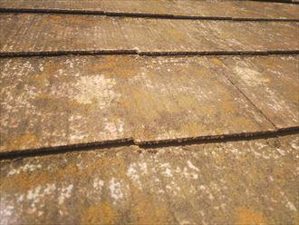 船橋市藤原で行った築30年が経過した化粧スレート屋根に屋根材の反りを発見しました