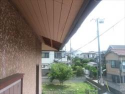 習志野市で強風により剥がれた軒天化粧ベニヤを張替!タフモックで棟板金の下地も補強ビフォー