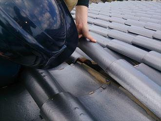 屋根を調査中
