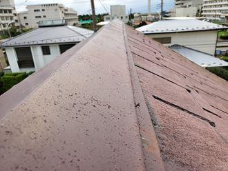 松戸市小山で行った台風15号被害のスレート屋根の棟板金の釘浮き