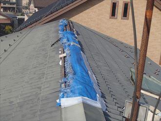 市原市根田にて強風で剥がれてしまった既存の棟板金を利用して復旧工事を実施ビフォー