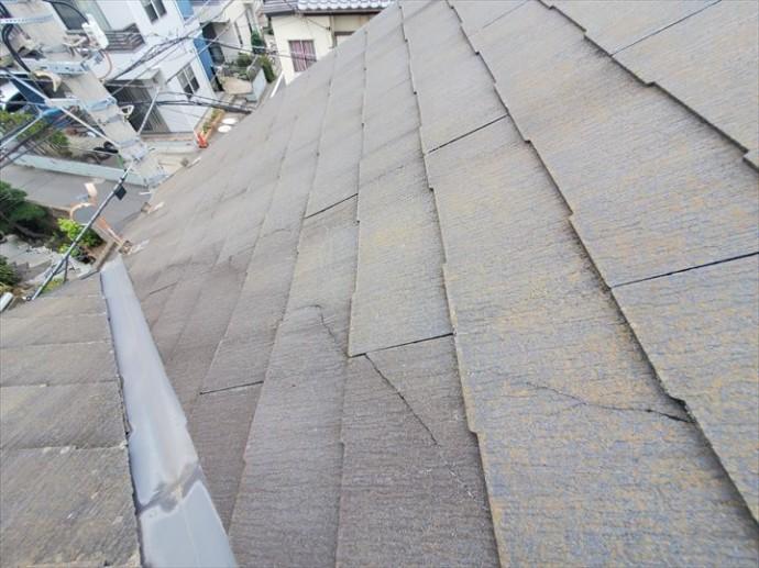 市川市若宮で行った化粧スレート屋根調査で雨漏りに繋がるひび割れを発見