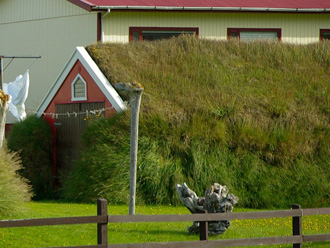 芝生の屋根の建物 側面