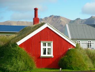 芝生の屋根の建物