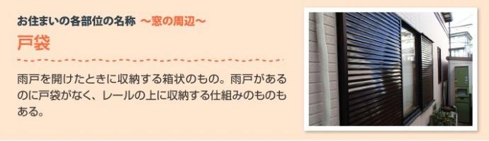 窓周辺の部位 戸袋:雨戸を開けたときに収納する箱状のもの